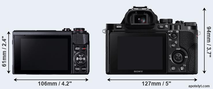 G7X Mark II and A7 rear side