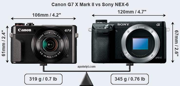 Size Canon G7 X Mark II vs Sony NEX-6