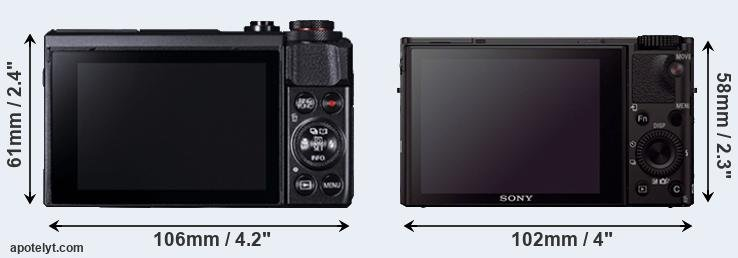 G7X Mark II and RX100 III rear side