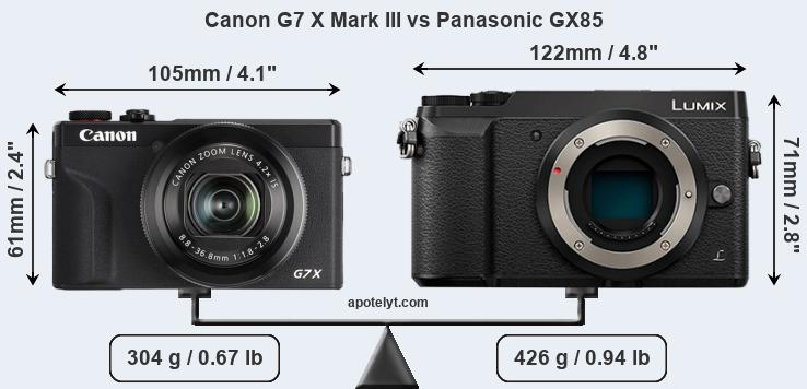 Size Canon G7 X Mark III vs Panasonic GX85