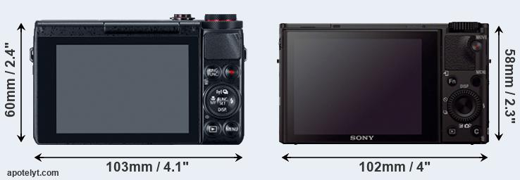 G7X and RX100 III rear side