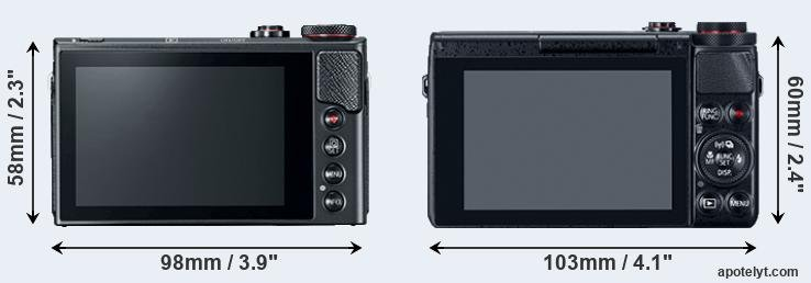 G9X Mark II and G7X rear side