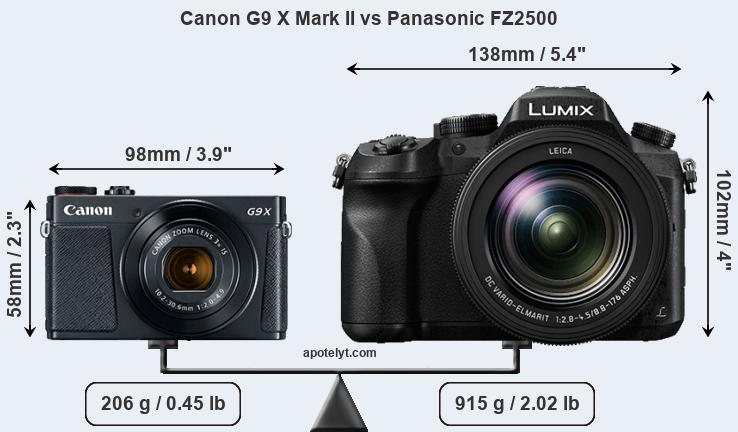 Size Canon G9 X Mark II vs Panasonic FZ2500