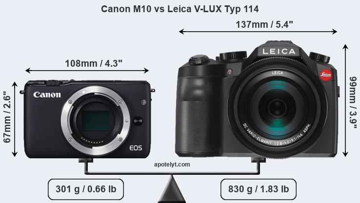 Size Canon M10 vs Leica V-LUX Typ 114