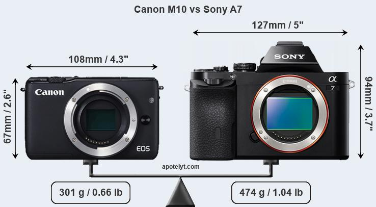 Size Canon M10 vs Sony A7