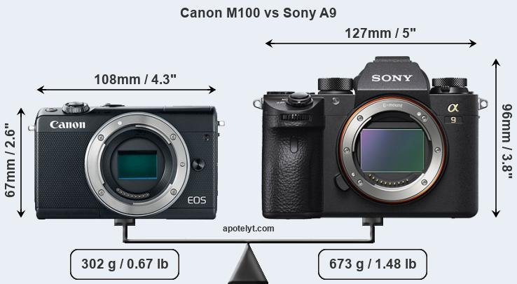 Size Canon M100 vs Sony A9