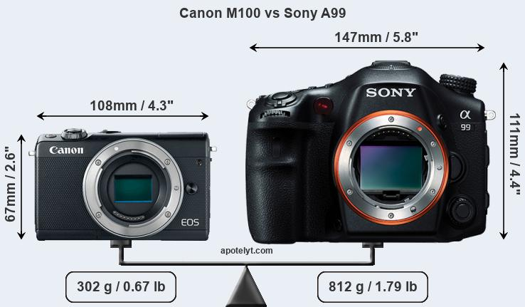 Size Canon M100 vs Sony A99
