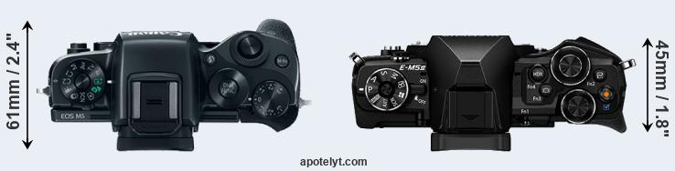 M5 versus E-M5 II top view