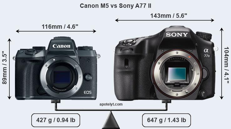Size Canon M5 vs Sony A77 II