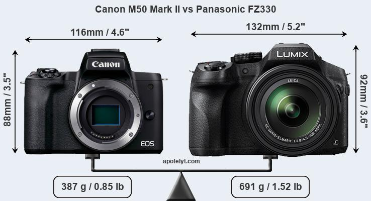 Size Canon M50 Mark II vs Panasonic FZ330