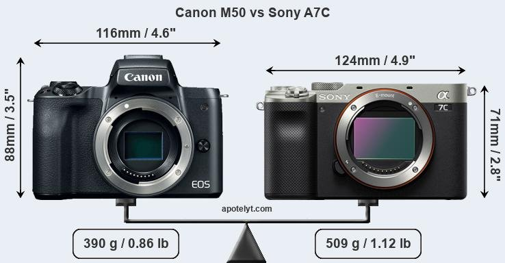 Size Canon M50 vs Sony A7C