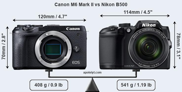 Size Canon M6 Mark II vs Nikon B500