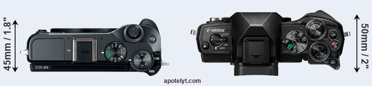 M6 versus E-M10 III top view