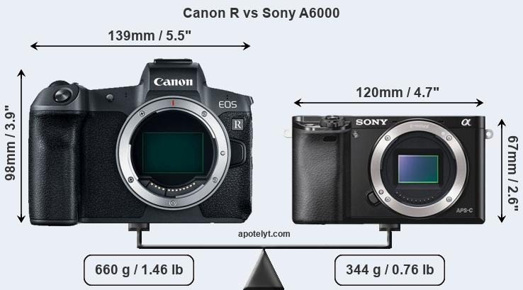 Size Canon R vs Sony A6000