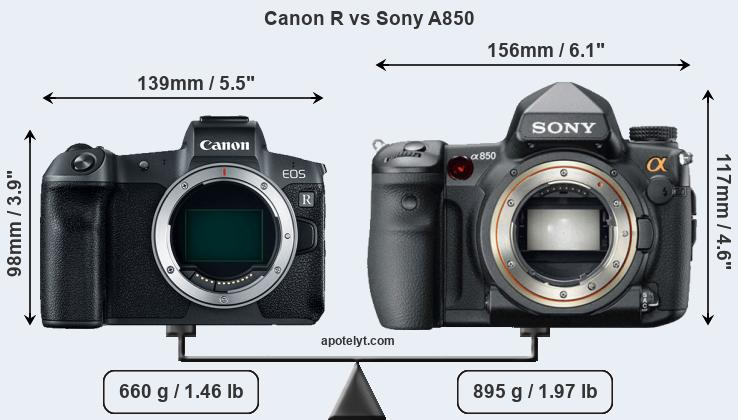 Size Canon R vs Sony A850