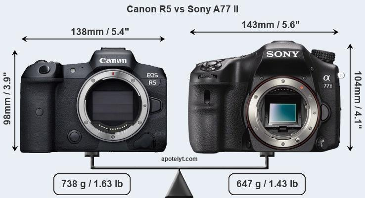 Size Canon R5 vs Sony A77 II