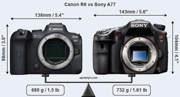 Size Canon R6 vs Sony A77