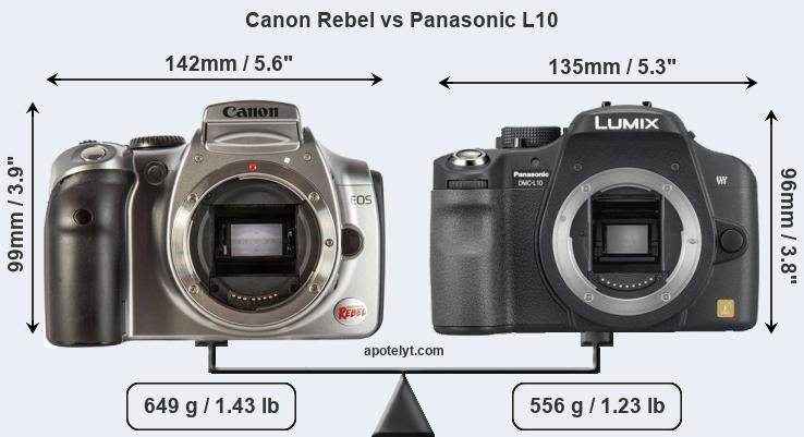 Size Canon Rebel vs Panasonic L10
