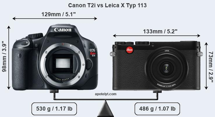 Size Canon T2i vs Leica X Typ 113
