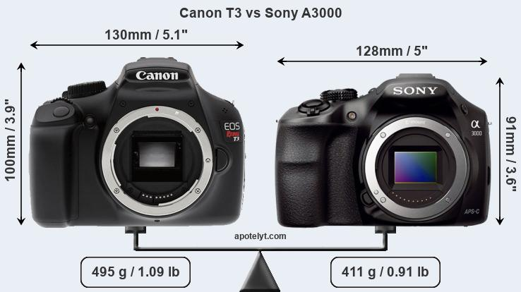 Size Canon T3 vs Sony A3000