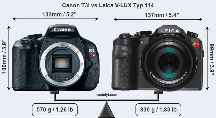 Size Canon T3i vs Leica V-LUX Typ 114