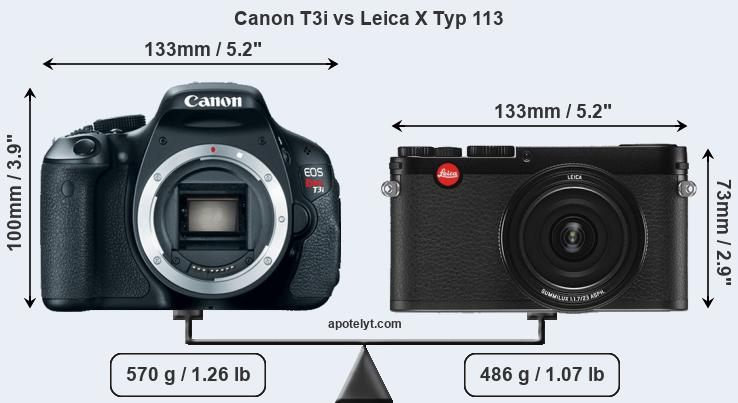 Size Canon T3i vs Leica X Typ 113