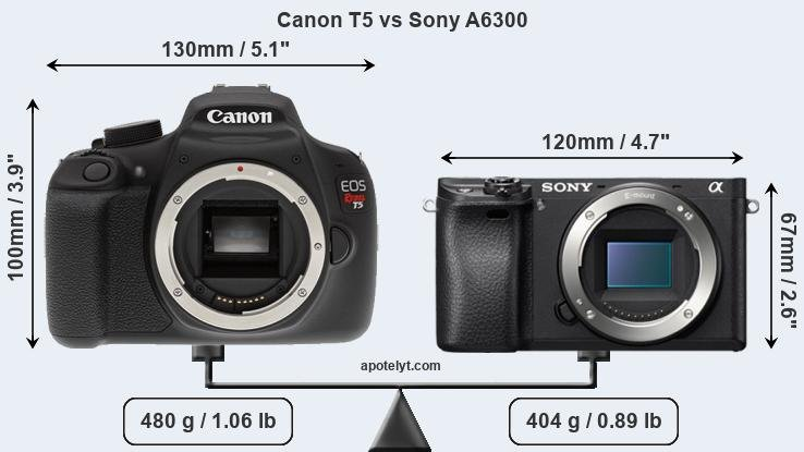 Size Canon T5 vs Sony A6300