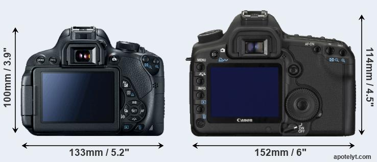 T5i and 5D Mark II rear side