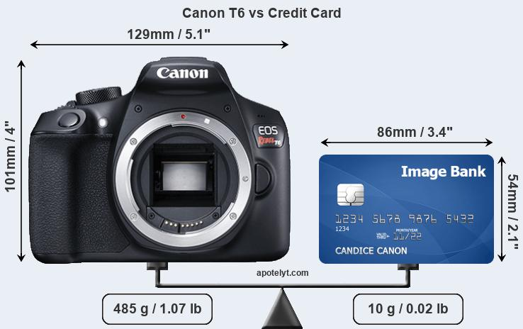 Canon T6 vs credit card front