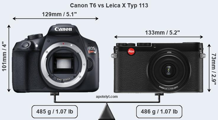 Size Canon T6 vs Leica X Typ 113