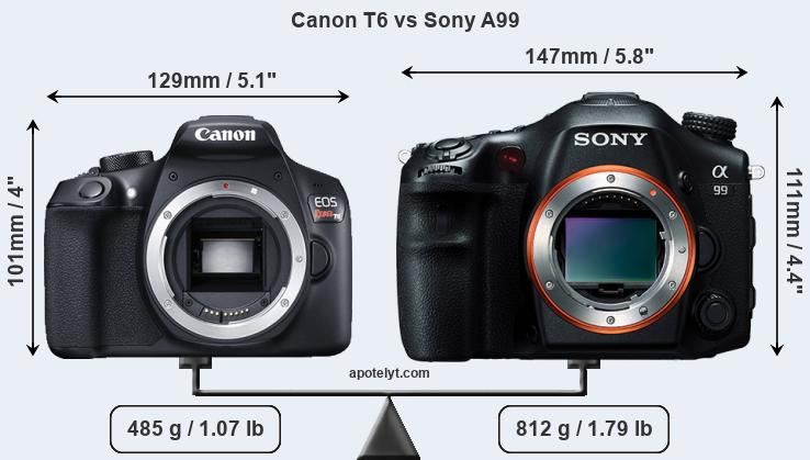 Size Canon T6 vs Sony A99