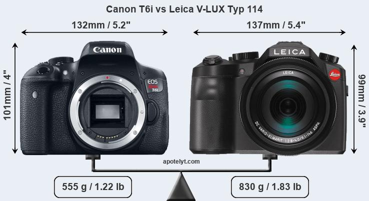 Size Canon T6i vs Leica V-LUX Typ 114