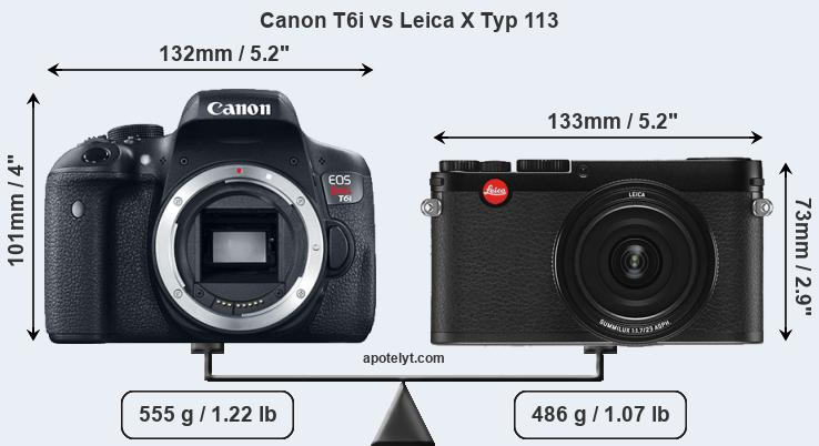 Size Canon T6i vs Leica X Typ 113