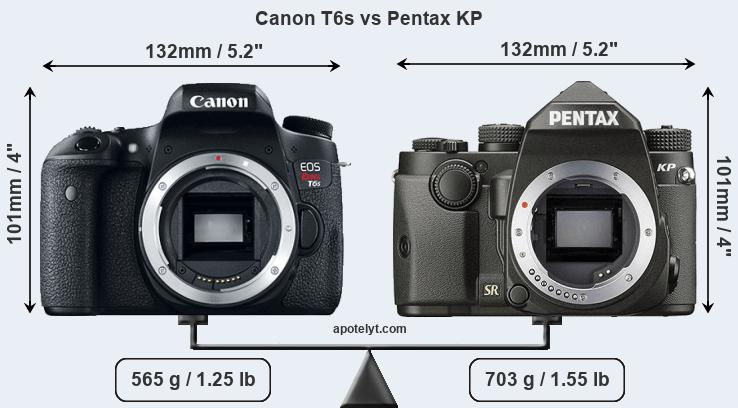 Size Canon T6s vs Pentax KP