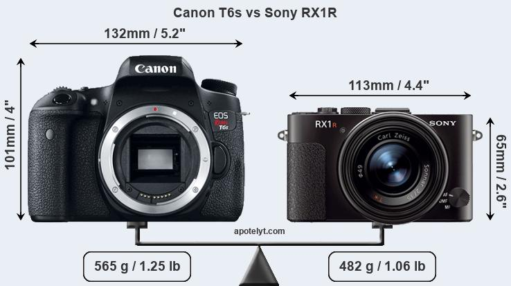 Size Canon T6s vs Sony RX1R