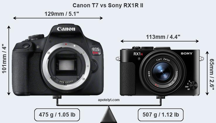 Size Canon T7 vs Sony RX1R II