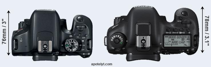 T7i versus 7D Mark II top view