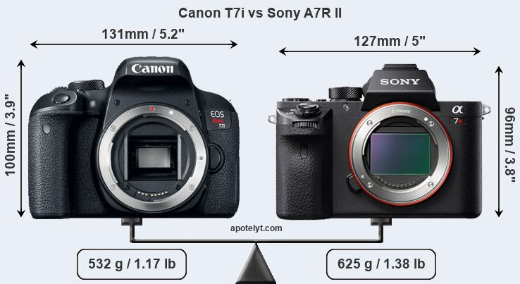 Size Canon T7i vs Sony A7R II