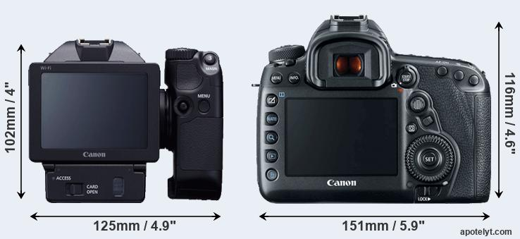 XC10 and 5D Mark IV rear side