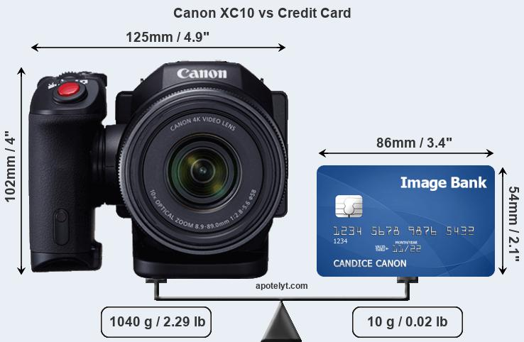 Canon XC10 vs credit card front