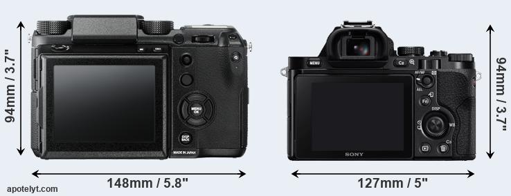 GFX and A7R rear side