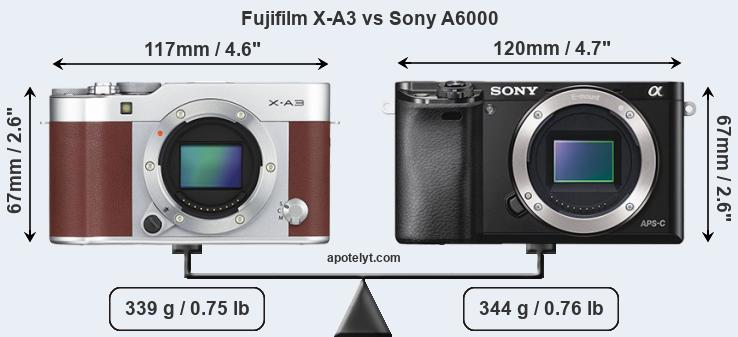 Fujifilm X-A3 and Sony A6000 sensor measures