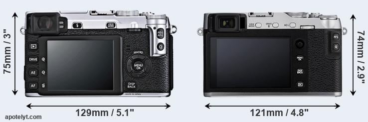 X-E1 and X-E3 rear side