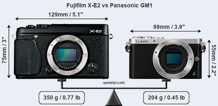 Size Fujifilm X-E2 vs Panasonic GM1