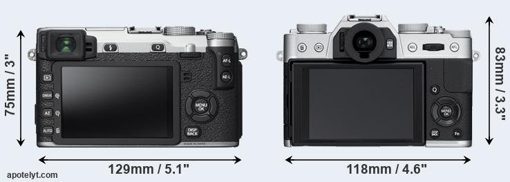 X-E2S and X-T10 rear side
