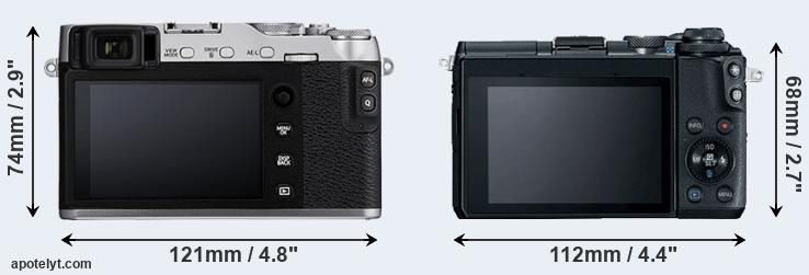 X-E3 and M6 rear side