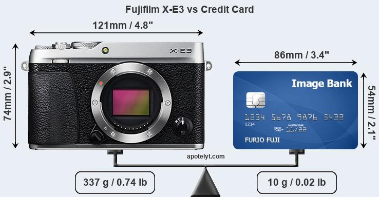 Fujifilm X-E3 vs credit card front