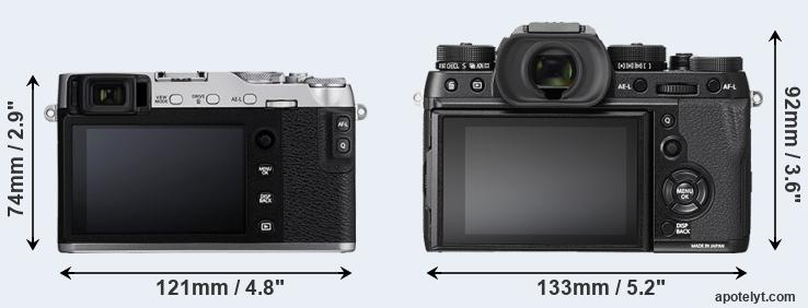 X-E3 and X-T2 rear side