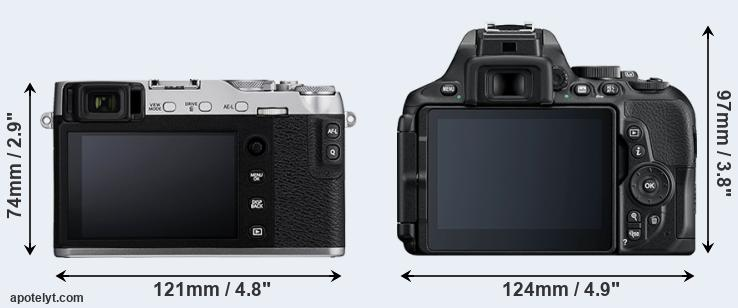 X-E3 and D5600 rear side