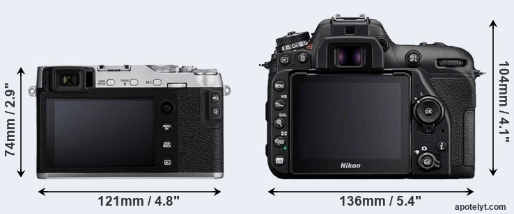 X-E3 and D7500 rear side